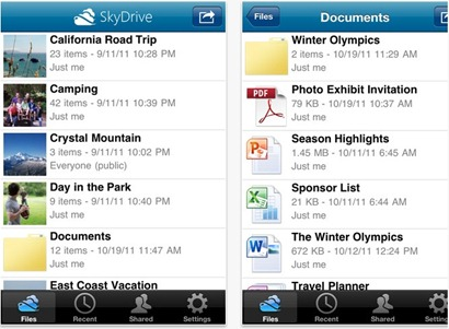 SkyDrive for iPhone